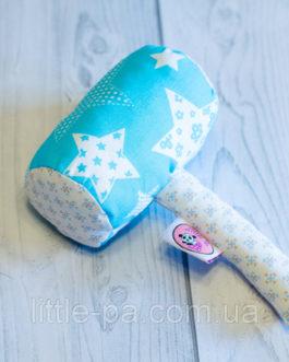 Текстильная погремушка для новорожденного «Молоток голубой»