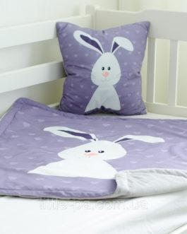 """Подарочный детский набор плед и подушка с плюшем  """"Зая"""""""
