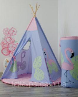 Вигвам детский «Фламинго» с круглым ковриком