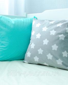 Декоративная детская подушка хлопковая «Звёзды с мятой»
