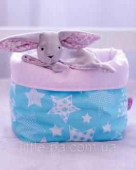"""Маленькая хлопкая коробочка для детской """"Звездопад с розовым"""""""