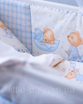 """Детское постельное белье """"Мишки"""" (беж/голубой) (120х60)"""