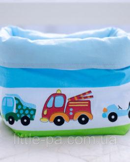 Мягкая текстильная коробочка в детскую «Тачки»