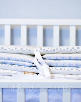 Мягкие хлопковые бортики для кроватки «Мишки»(беж/голубой)