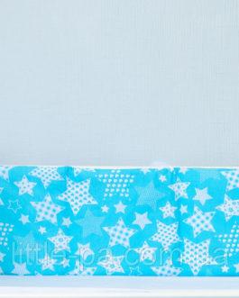 Защита детской кроватки хлопковая «Звездопад с розовым»