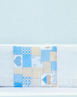 Бамперы защитные для детской кроватки «Пэчворк голубой»