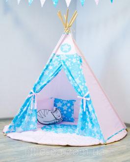 Детский комплект с вигвамом «Звездопад с розовым»