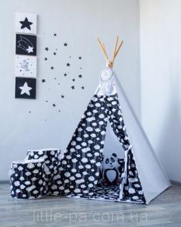Хлопковая корзина в детскую комнату «Облачки»