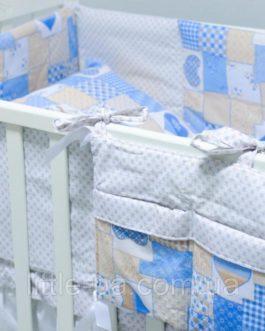 Комплект детского постельного белья 120х60 см «Пэчворк» голубой